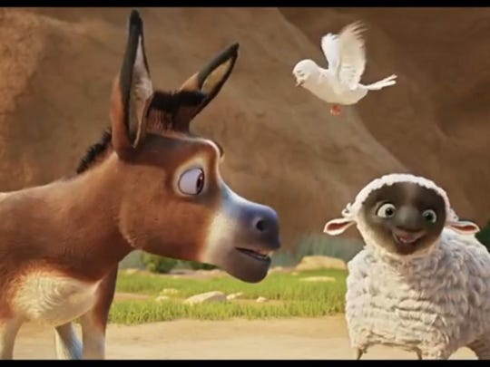 """In """"The Star,"""" Steven Yeun supplies the voice of Bo the donkey, Keegan-Michael Key is Dave the dove and Aidy Bryant is Ruth the sheep."""