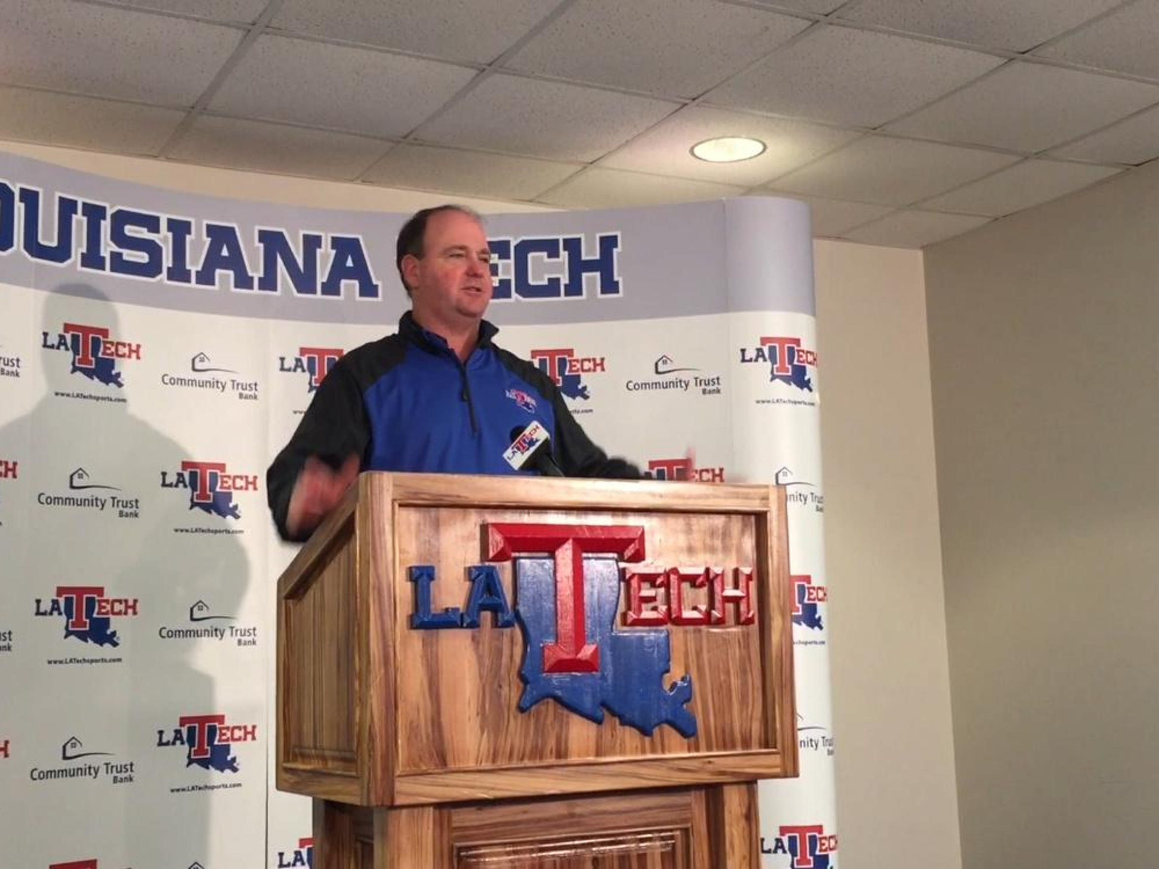 ABOVE: Louisiana Tech coach Skip Holtz addresses the