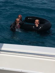 These three Cuban migrants were rescued July 7, 2018, more than 40 miles off the coast of Key West after floating in the Gulf of Mexico for four days.