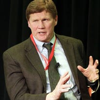 Green Bay Packers president Mark Murphy discusses the season during the 50th annual Red Smith Sports Award Banquet at the Radisson Paper Valley Hotel in Appleton.