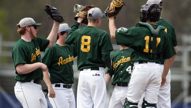 The BFA infield huddles together before the start of the inning during a high school baseball game between BFA St. Albans and Burlington at Orrie Jay Field last year.