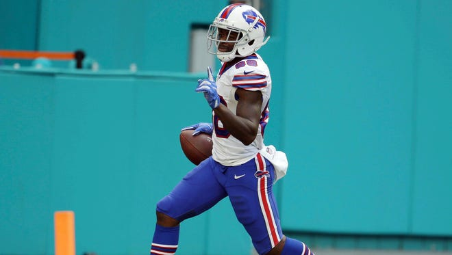 Buffalo Bills wide receiver Marquise Goodwin (88) runs into the end zone for a touchdown, during the second half of an NFL football game against the Miami Dolphins.