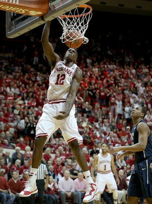 """Indiana has been without injured forward Hanner Mosquera-Perea (pictured) for three games. Coach Tom Crean said he expects the 6-9 junior back in the """"middle"""" of February."""