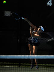 Chelsea Kung, from Fort Worth, serves the ball during her match against Isabella DiLaura in the Girls' 18 singles division of USTA Texas Grand Slam on Wednesday, June 14, 2017, at the Streich Tennis Center.