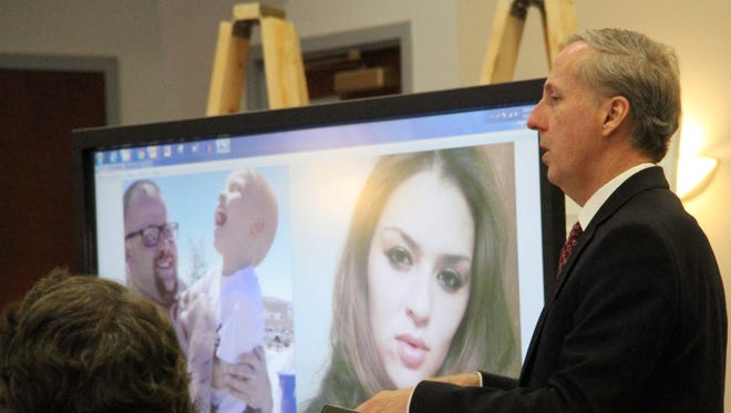 "Chief Deputy District Attorney Scot D. Key stands next to photos of Phillip ""PJ"" Banka and Jessica R. Thompkins during his closing arguments in 12th Judicial District Court Tuesday."