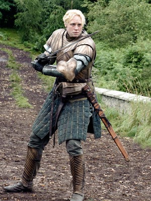 """Gwendoline Christie in a scene from the television program """"Game of Thrones.""""  Credit: Helen Sloan, HBO [Via MerlinFTP Drop]"""