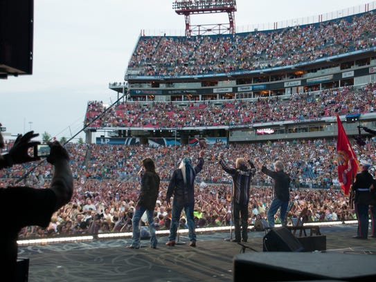 The Oak Ridge Boys perform for their fans on the main