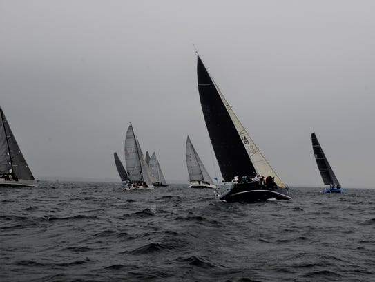 More than 200 sailboats started the race in Mackinac