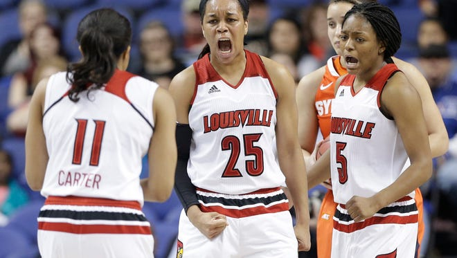 Louisville's Asia Durr (25) reacts with teammates after a basket against Syracuse during the second half of an NCAA college basketball game in the Atlantic Coast Conference tournament in Greensboro, N.C., Saturday, March 5, 2016. Syracuse won 80-75.
