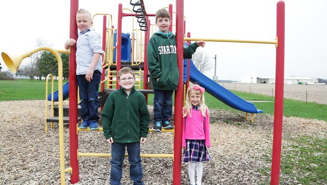From top left, clockwise: Brody Smith, Kaine Simon, Madeline George and Thomas Kramer at St. Joseph School in Pewamo.