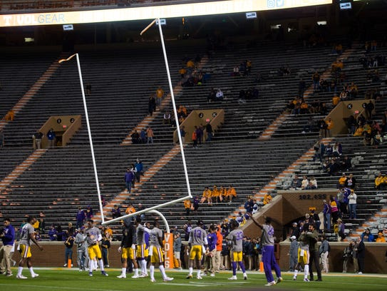 The goal post in the south end zone stand crooked before