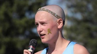 Kalena Clauer, a senior at Arrowhead High School, gives a speech after the Myrhum Invite May 5.  She organized a fundraiser to raise money for Children's Hospital of Wisconsin.