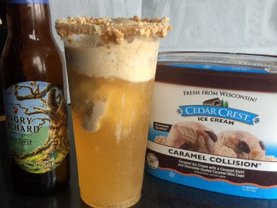 Caramel Apple Hard Cider Float, a caramel and peanut-rimmed cup.
