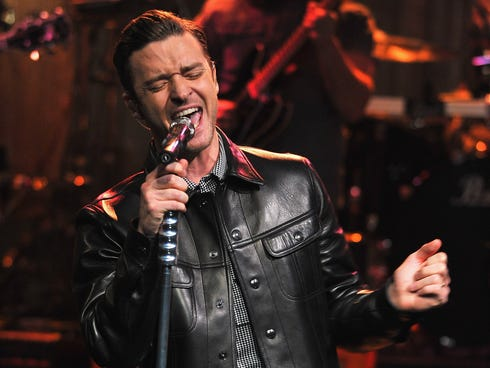 Justin Timberlake performs during a taping of 'Late Night With Jimmy Fallon' at Rockefeller Center on March 11, 2013, in New York City.
