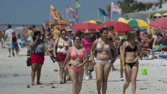 Spring break  on Fort Myers Beach, March 19 2014. Lee County's bed tax collections topped $7 million in March