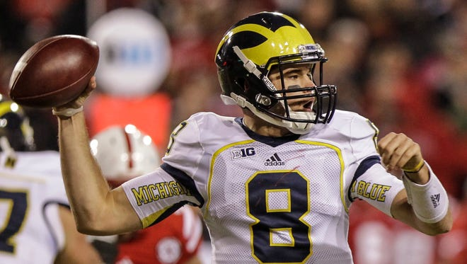 Michigan quarterback Russell Bellomy throws against Nebraska on Oct. 27, 2012.