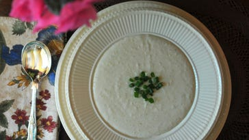 Vichyssoise, made with pureed potatoes and leeks in a heavy cream sauce, is a cool dish to serve on a hot day.