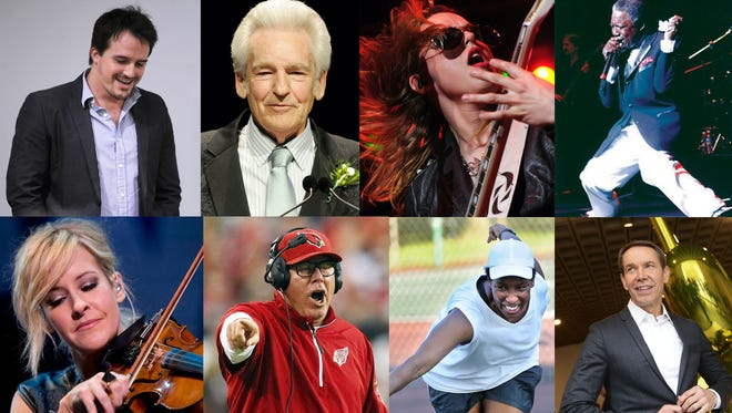 Top row, from left: Neal Dodson, Del McCoury, Lzzy Hale and Charlie Thomas. Middle, from left: Martie Maguire, Bruce Arians, Loretta Claiborne and Jeff Koons. Bottom, from left: Ken Ludwig, Ed Kowalczyk, Chris Doleman and John Kuhn.