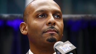 "Anfernee ""Penny"" Hardaway speaks to the crowd while being introduced as the University of Memphis' new head basketball coach at the Laurie-Walton Family Basketball Center Tuesday morning. Hardaway, who a standout player at the U of M from 91-93, will take over for recently fired head coach Tubby Smith."