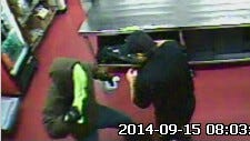 A white male entered the Jet's Pizza on Almaville Road on Sept. 15, robbed an employee at knife point and assaulted him.