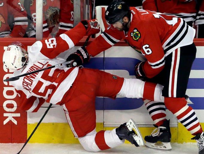 Detroit Red Wings defenseman Niklas Kronwall, left,