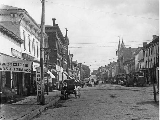 Horse-drawn buggies and wagons were still the overwhelming choice for people visiting downtown Lancaster in 1902. In this photo, there doesn't seem to be a single gas-driven automobile on the street.
