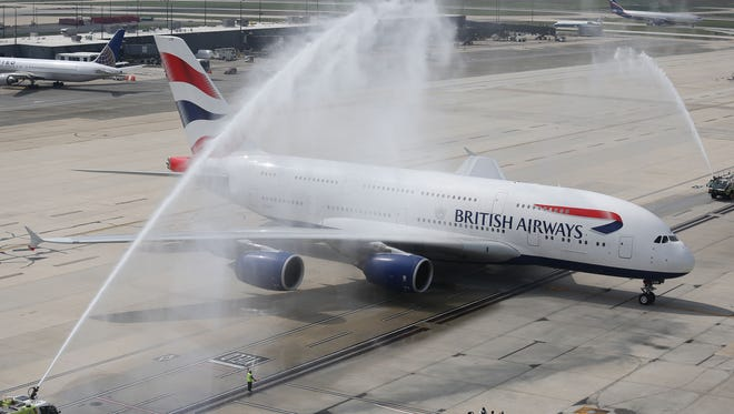 British Airways' first A380 flight to Washington arrives Dulles International Airport on Oct. 2, 2014.