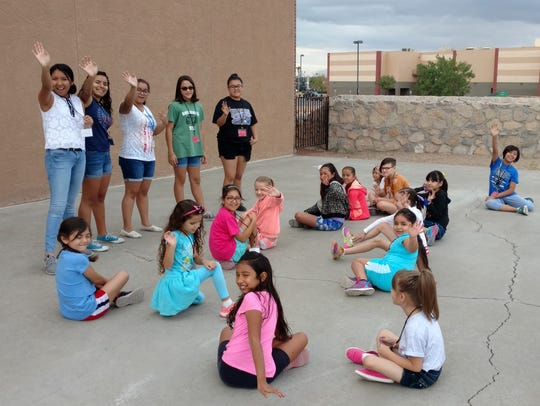 Older Girl Scouts led the campers in a game of Simon