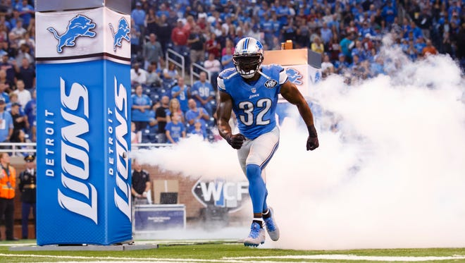 Detroit Lions strong safety James Ihedigbo in introduced prior to a game against the Arizona Cardinals at Ford Field.