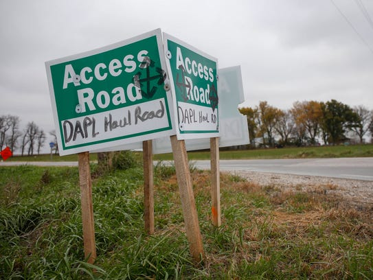 A sign for the Dakota Access Pipeline access road is