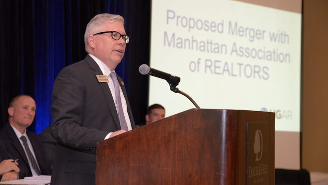 Richard Haggerty, CEO of the Hudson Gateway Association of Realtors, talks about a proposed merger with the Manhattan Association of Realtors at its annual meeting held on Oct. 17, 2016, at the DoubleTree by Hilton Hotel in Tarrytown.