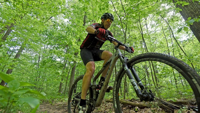 Steve Yarman maneuvers the course at Mohican State Park last week while out with friends.