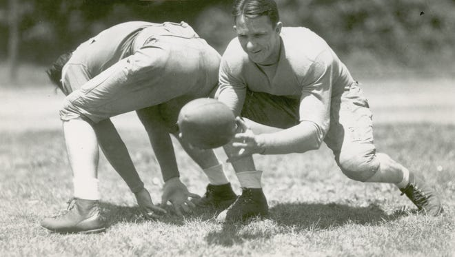 University of Tennessee quarterback Bobby Dodd. 1928-30. Head coach at Georgia Tech, 1945-67.  He was inducted into the College Football Hall of Fame as a player in 1959 and as a coach in 1993.    Photo from Knoxville News Sentinel archive, undated.
