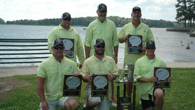 Hook-Em Bass Club of Pineville repeated as champions of the Association of Louisiana Bass Clubs State Club Championship at Toledo Bend Sunday. Members of the team include Jason Bruce, Tracy Beech, David Cross, William Spurgeon, Jeffrey Mitchell and Jarrett Trammell. They took the two-day tournament with a combined total of 78.14 pounds to collect a $4,000 pay check and edge out Bussey Reservoir Bass Club of Bastrop (77.05) by 1.09 pounds.