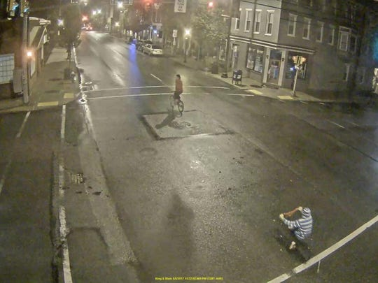 "Police are looking for a bicyclist who was riding in downtown Chambersburg on North Main Street May 6 who has been identified from this security camera photo as a ""person of interest"" in a case."