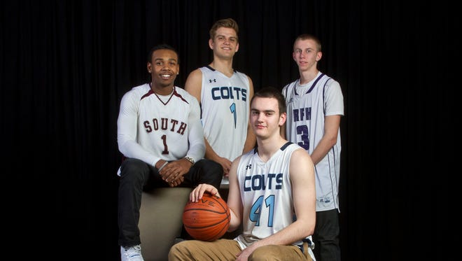 The 2014-15 Asbury Park Press All-Shore Boys Basketball Team of: (clockwise from left) Tymere Berry, Jack Laffey, Brendan Barry and Pat Andree.