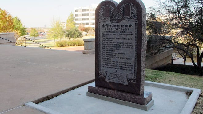 A Ten Commandments monument erected outside the Oklahoma state Capitol is shown on Nov. 16, 2012.