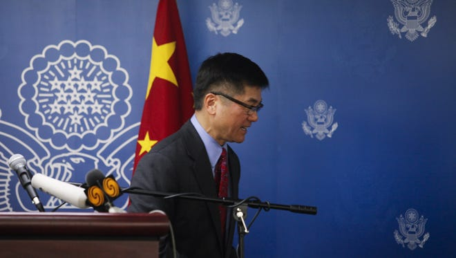 U.S. Ambassador to China Gary Locke delivers his farewell speech at the Beijing American Center on February 26, 2014.