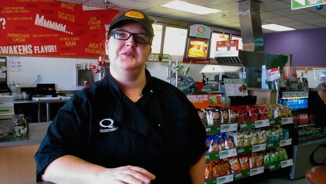 Kaylee Feight talks about her job at Quiznos in Helena, Mont.