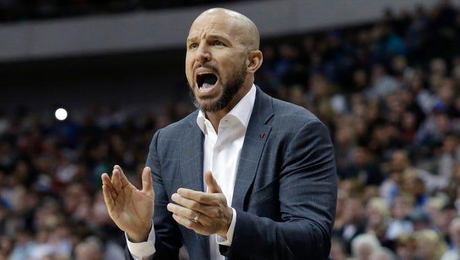 Brooklyn Nets head coach Jason Kidd yells from the sideline during the second half against the Dallas Mavericks on Sunday.