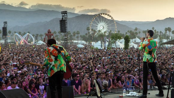 Capital Cities perform at the 2014 Coachella Valley Music & Arts Festival at the Empire Polo Club in Indio, Calif.
