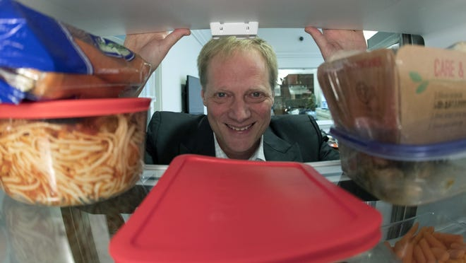 Brian Wansink, a food behavior scientist at Cornell University, says even though it shortens shelf life, move fruits and vegetables out of crisper drawers and put them at eye level. In one study, people who put fruits and vegetables on the top shelf ate nearly three times more of them than they did the week before.