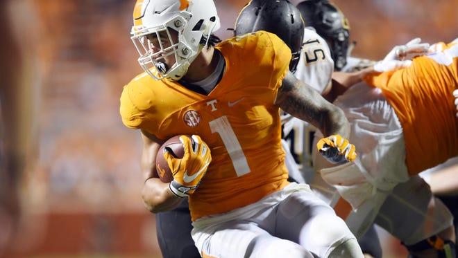 Tennessee running back Jalen Hurd (1) looks for room to run during the game against Appalachian State. Tennessee beat Appalachian State 20-13 at Neyland Stadium on Thursday, September 1, 2016.