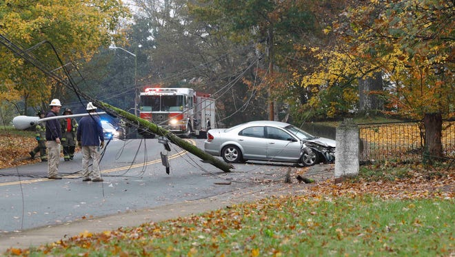 This stolen car crashed into a utility pole on Greenwood early Monday.