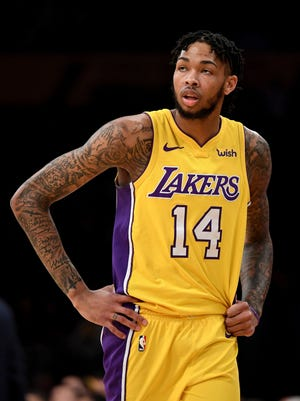 Los Angeles Lakers forward Brandon Ingram looks on in the first half of a game against the Phoenix Suns at Staples Center.