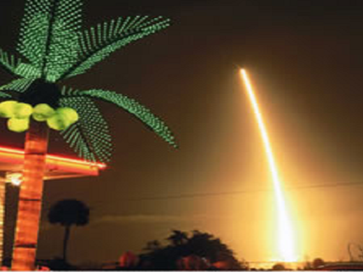 View of a night launch of El Leoncito in Titusville.