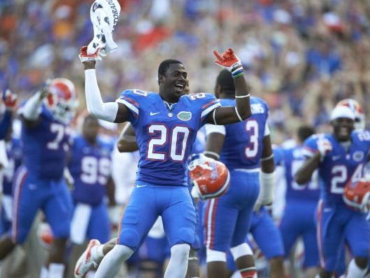 College Football: Florida Marcus Maye (20) victorious during game vs LSU at Ben Hill Griffin Stadium. Gainesville, FL 10/6/2012 CREDIT: Bill Frakes (Photo by Bill Frakes /Sports Illustrated/Getty Images) (Set Number: X155568 TK1 R1 F528 )