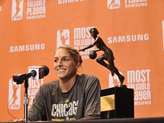 Elena Delle Donne of the Chicago Sky addresses media during a press conference to announce her naming as the 2015 WNBA Most Valuable Player Award presented by Samsung on Sept. 16 at UIC Pavilion in Chicago, Illinois.