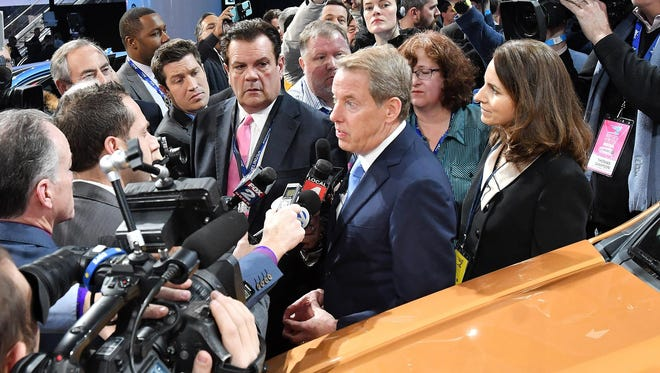 Bill Ford, Jr. talks with the media next to the 2019 Ford Ranger during the unveiling at the Ford display at the North American International Auto Show at Cobo Center in Detroit in January.