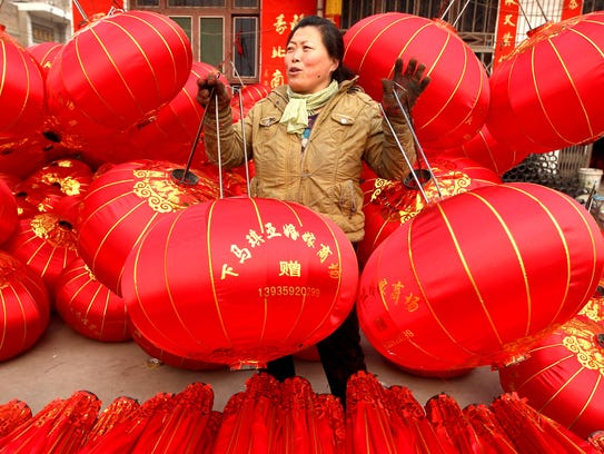 Red lanterns in Jishan, China